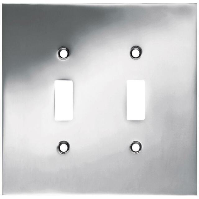 W66892 Pc Concave Double Switch Cover Wall Plate Polished Chrome