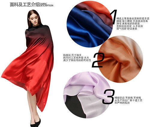 Colorful Gradient Women Silk Scarf Shawl Belly Dance Waving Scarf Veil 90*180cm