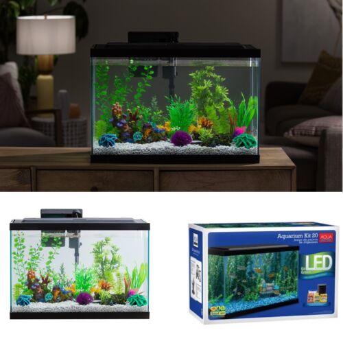 20 Gallon Aquarium Starter Kit LED Light Complete Fish Tank Filter Food Aqua New