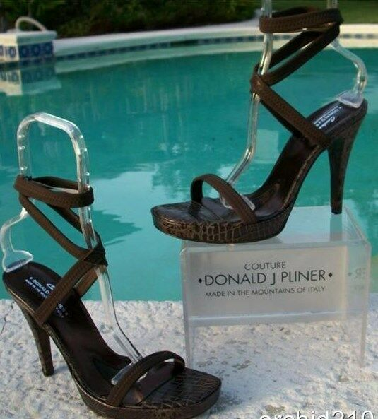 Donald Pliner Couture Leather Gator shoes New Dbl Wrap Ankle Strap Signature