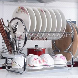 20-5-034-2-Tiers-Stainless-Steel-Dish-Cup-Drying-Rack-Draining-Tray-Utensil-Holder