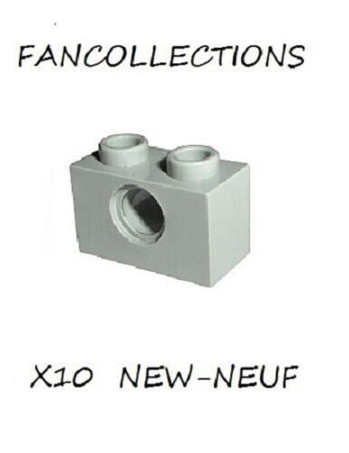 3700 NEUF Light Bluish Gray Technic LEGO x 10 Brick 1x2 with Hole