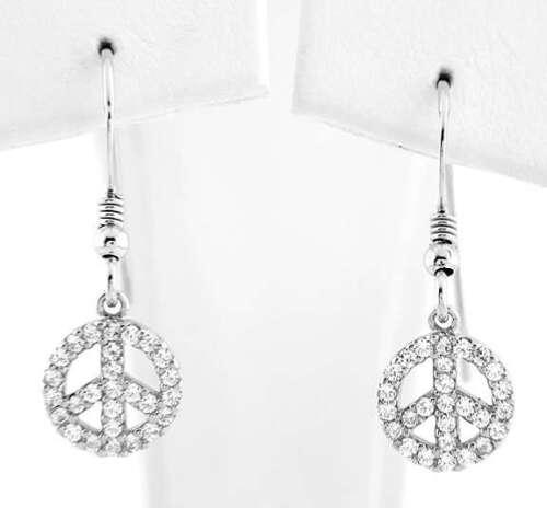 Silver PEACE SIGN Fish Hook Cz  Cubic Zirconia Earrings