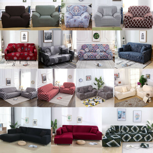 1//2//3//4 Seat Stretch Spandex Chair Sofa Couch Cover Elastic Slipcover Protector
