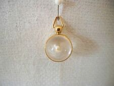 VTG Clear Lucite Round Ball Sphere Encased Cultured Pearl Charm Pendant