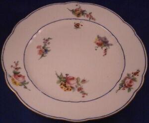 Antique-18thC-Sevres-Porcelain-Floral-Softpaste-Plate-Porzellan-Teller-French