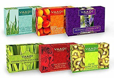 pack Of 6 Bar Soaps Health & Beauty Vaadi Herbals Exotic Flavors Luxurious Handmade Herbals Soaps 75gm