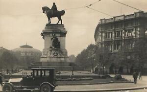 VINTAGE-REAL-PHOTO-GARIBALDI-MONUMENT-MILAN-POSTCARD-by-Fratelli-Marco