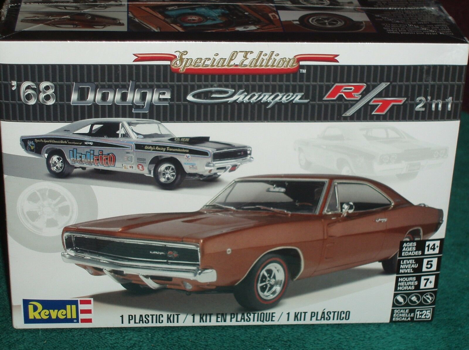 Revell 1968 Dodge Charger RT Hard Top Plastic Model Kit 1 25 Skill Level 5