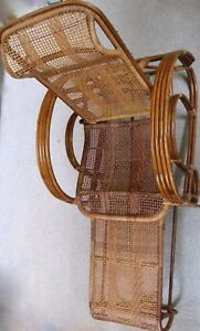 Groovy Details About C 1920S Bamboo Rattan Adjustable Lounge Chair With Attached Pull Out Ottoman Ocoug Best Dining Table And Chair Ideas Images Ocougorg