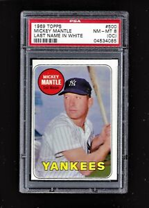 ⚾1969 Topps Mickey Mantle #500 WHITE LETTERS ERROR PSA 8 Just 6 Higher! +1952 re