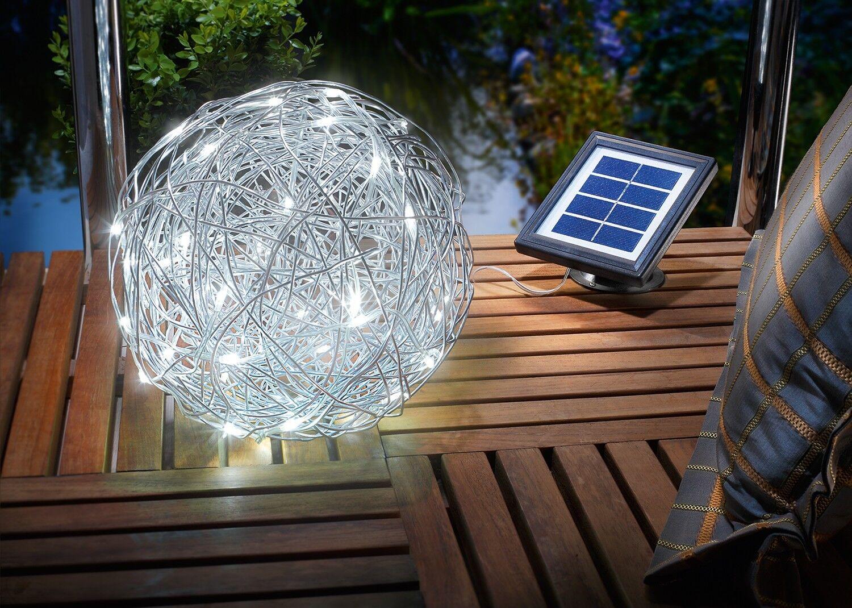 25cm LED Solar Drahtkugel Solarkugel Gartenkugel Leuchtkugel Weihnachten Kugel