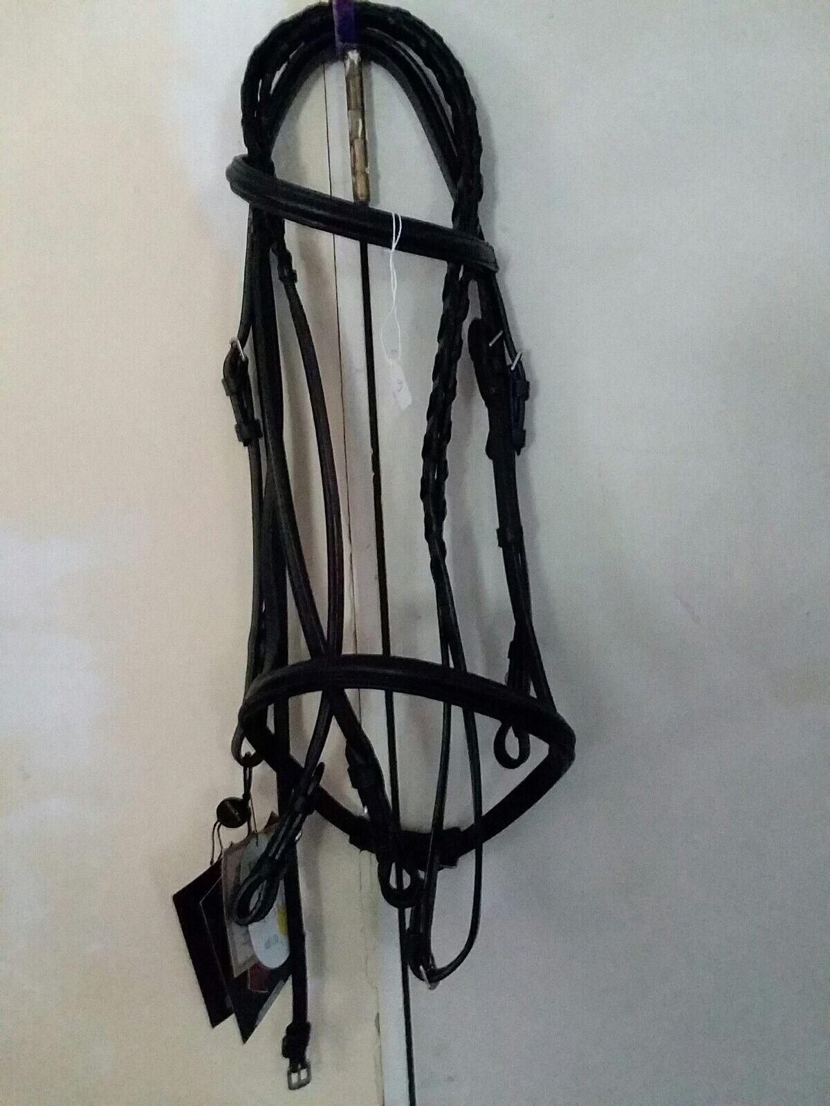 Treadstone Brida De Cuero Negro Inglés Con Trenzado riendas Pony Tamaño Lote 6