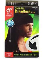 Titan Classic Open Back Spandex Dreadlock Cap - Black (22148)