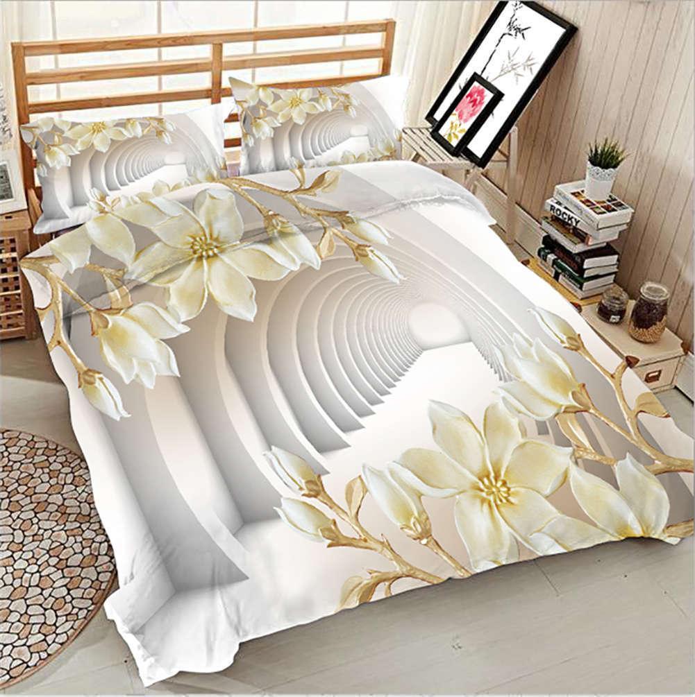 Embossment Cowry 3D Druckening Duvet Quilt Will Startseites Pillow Case Bettding Sets