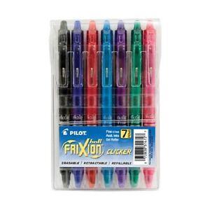 Pilot Frixion Clicker Erasable Gel Roller Pens Fine Tip 0.7mm 7 Assorted Colors