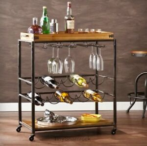 Image Is Loading Bar Cart Rolling Serving Tray Wood Metal Kitchen