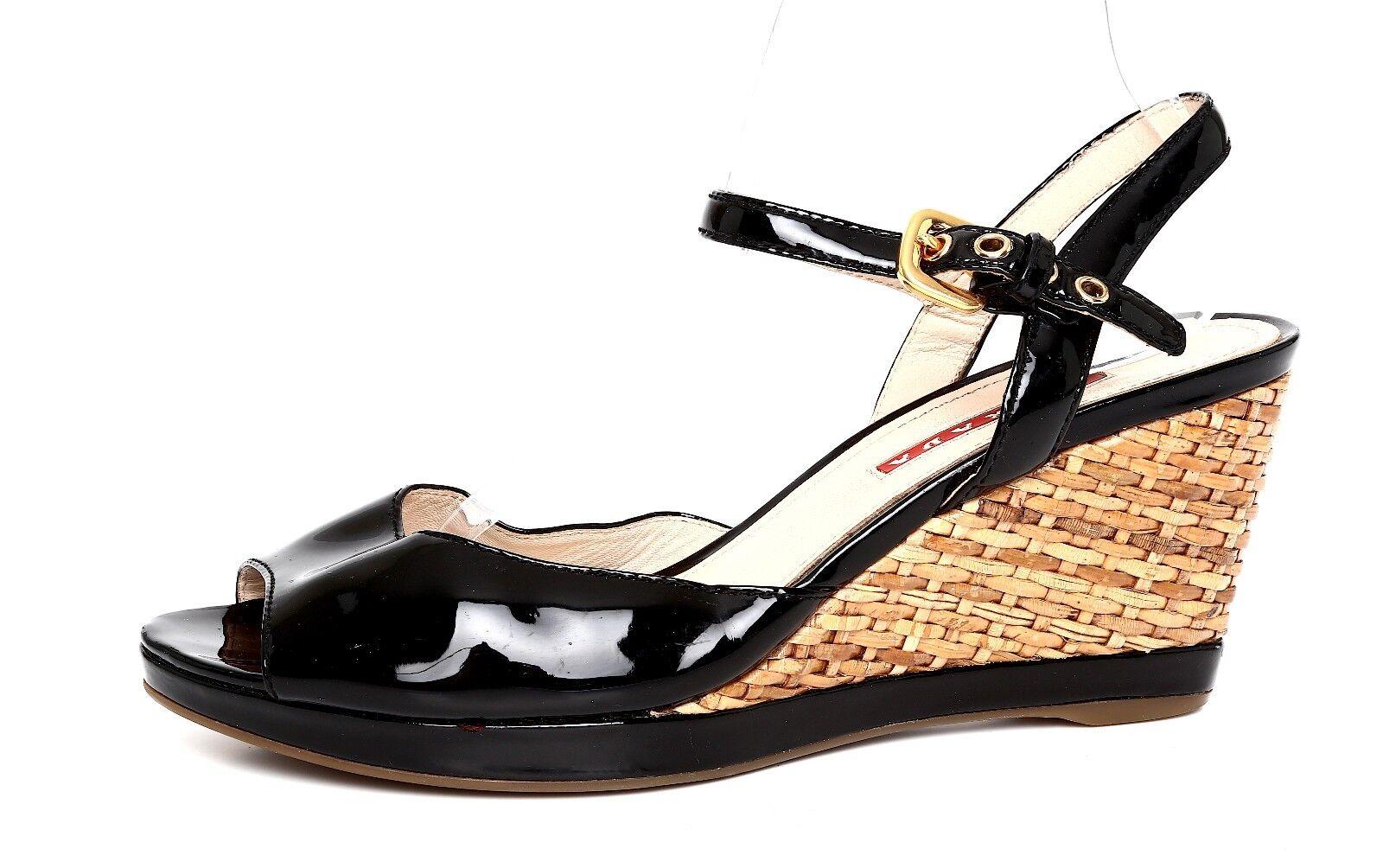 Prada Mujer Charol Negro Sandalia de cuña cuña cuña Talla 38.5 EUR 2537  venta caliente en línea