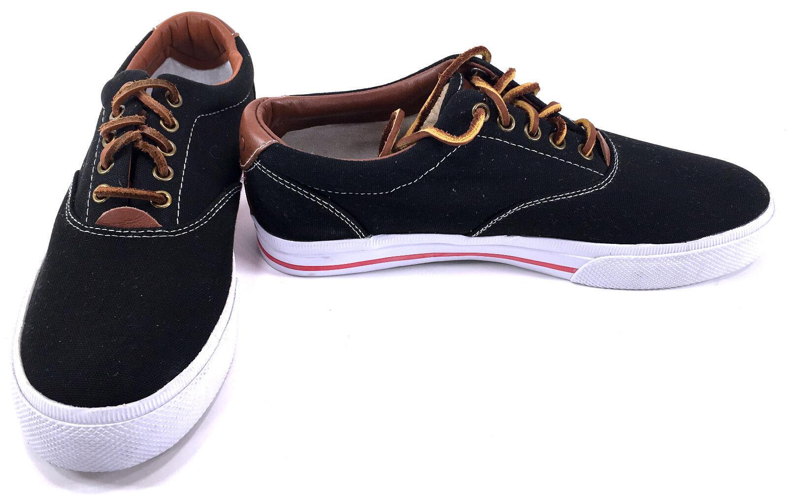 Polo Ralph Lauren shoes Vaughn Athletic Canvas Black Brown Sneakers Size 8.5