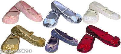 Girls Kids Glitter Party Wedding Flower Girl Bridesmaid Shoes Pumps Size 6 - 1