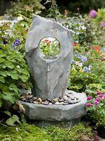 Brunnen 'grauer Fels' Led-beleuchtung Garten Dekoration Wasser Spiel Spring Zier