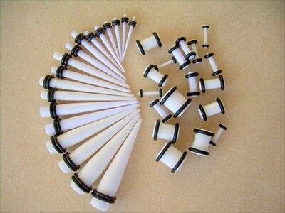 Pair White Tapers & Pair Acrylic White Ear Plugs Taper Kit Set Combo Pick Size