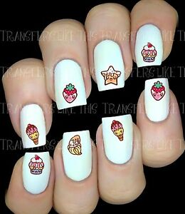 KAWAII-DESSERT-Autocollant-Stickers-ongles-nail-art-manucure-water-decal