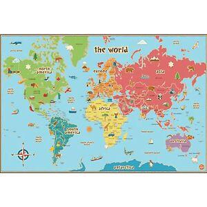 Mapa-Del-Mundo-Ninos-Wallpops-LAMINADO-borrar-en-seco-con-Boligrafo-Ninos