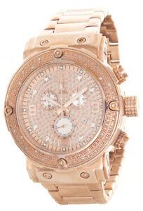 Aqua-Master-Men-039-s-Rose-Gold-Steel-Chronograph-Diamond-Watch-W-146