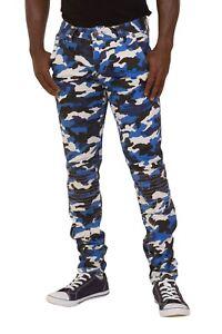 5fe0ccd5c5ff Das Bild wird geladen Herren-Hose-Skinny-Fit-Camouflage-Blau-Combat-Hose-