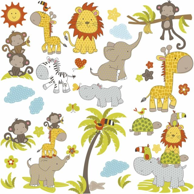 RoomMates RMK2865SCS Jungle Babies Peel & Stick Wall Decals | eBay