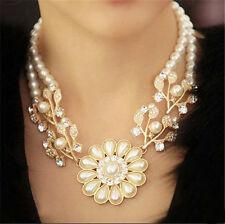 Statement Blumen Perlenkette Halskette viel Strass Perlen Goldfarben 1112
