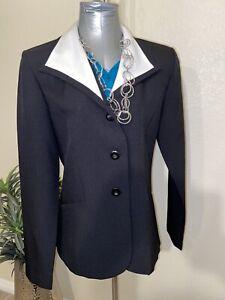 JT-Collection-3-Button-Black-Womens-Blazer-Size-8-White-Trim-Collar-Career