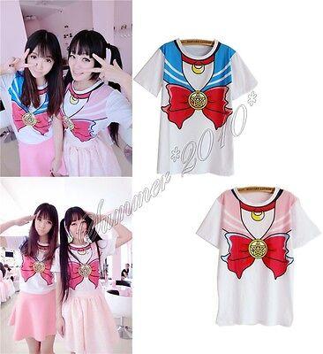 Sailor Moon Bow Tie Crew Neck T-shirt Cotton Top Cute Kawaii Cosplay Costume New