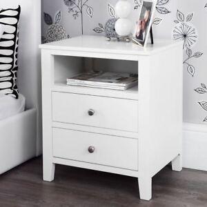 Brooklyn White Bedside Table Solid Fully Assembled Bedside