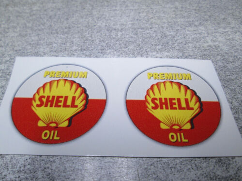"""1-3//8/"""" PAIR SHELL GASOLINE SERVICE STATION GAS OIL WATER SLIDE DECALS TOY PARTS"""