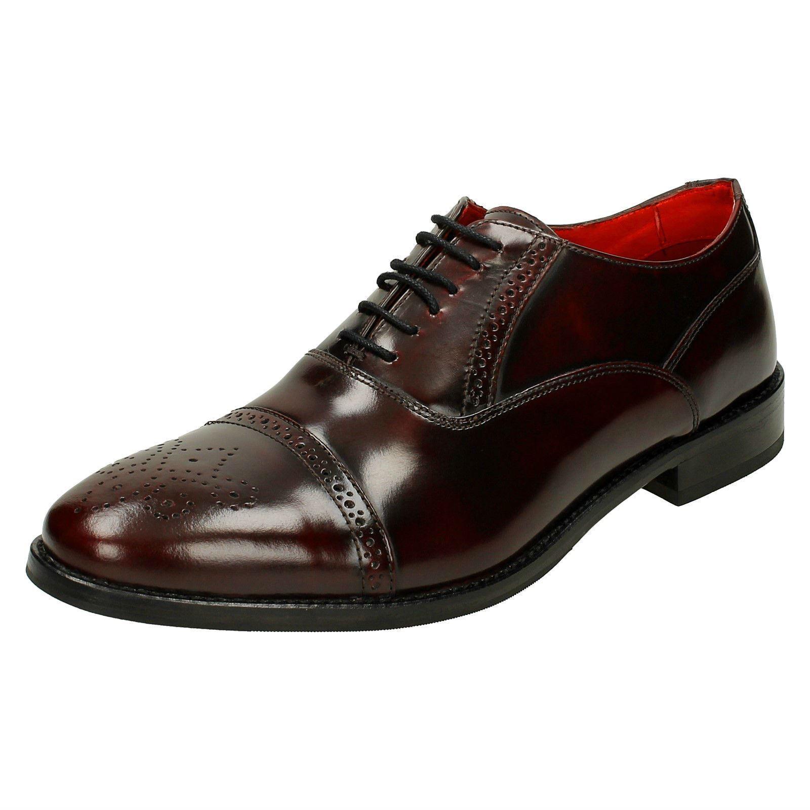 Mens Base London Hi Shine Leather Smart Lace Up Shoes - Noel