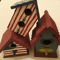 Set Of 3 Mini Wooden Birdhouses For Crafts 3-5 Inches Tall So Cute