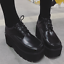 Womens-Retro-Square-Toe-High-Wedge-Platform-Muffins-Lace-Up-Club-Creepers-Shoes thumbnail 4