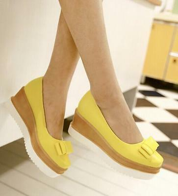 Women's creepers soles pumps bow deco wedge boat shoes platform 4 color sneaker