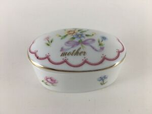 Lefton trinket box porcelain oval shape floral design Mother