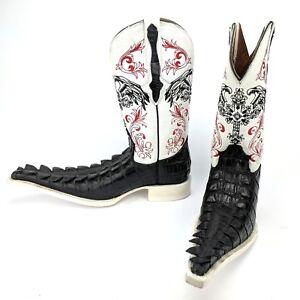 El-General-Men-039-s-Cowboy-Boots-White-Leather-amp-Black-Imitation-Caiman-Tail-Size-6