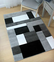 Hand Carved High Quality Blocks Grey & Black Modern Wilton Rugs 160x230cm