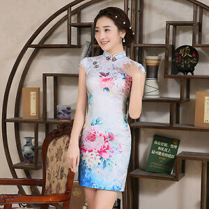 Sexy-Women-s-short-print-evening-party-prom-Chinese-dress-daily-Cheongsam-Qipao