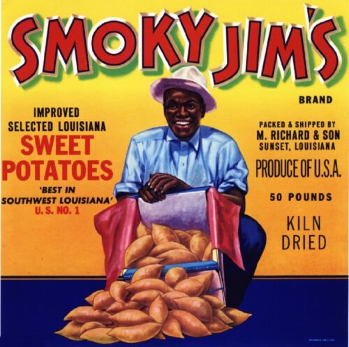 Sunset Louisiana Smoky Jim/'s Yams Yam Sweet Potato Vegetable Crate Label Print