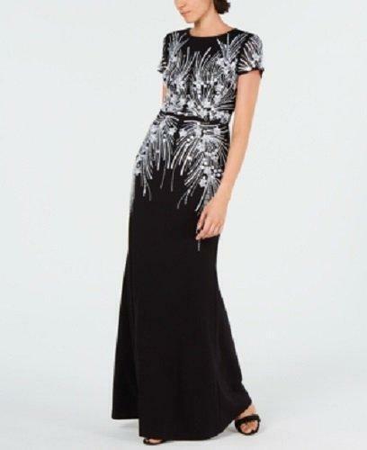 ADRIANNA PAPELL 8P Black & Ivory Beaded Short Sleeve Mermaid Gown NWT