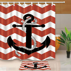 Image Is Loading Nautical Anchor And Wave Shower Curtain Bathroom Waterproof