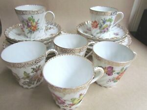 DRESDEN-PORCELAIN-SET-OF-SIX-WRYTHEN-FLUTED-COFFEE-CUP-TRIOS-Ref3688
