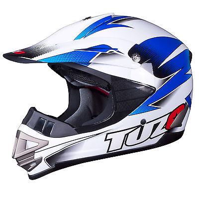 Tuzo MX3 Adult Motocross MX Enduro ATV Quad Crash Helmet White-Blue XL