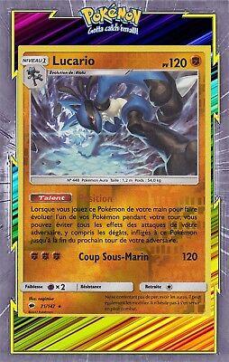 Carte Pokemon LUCARIO 71//147 Holo REVERSE Soleil et Lune 3 SL3 Française NEUF
